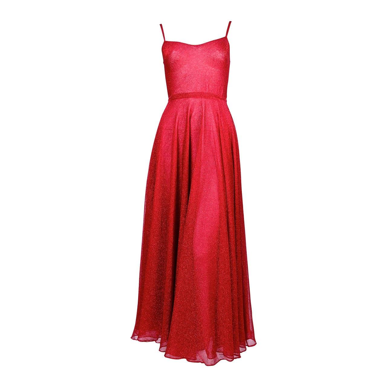 1970's HALSTON fuchsia lurex dress