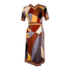1960's EMILIO PUCCI geometric printed silk jersey dress