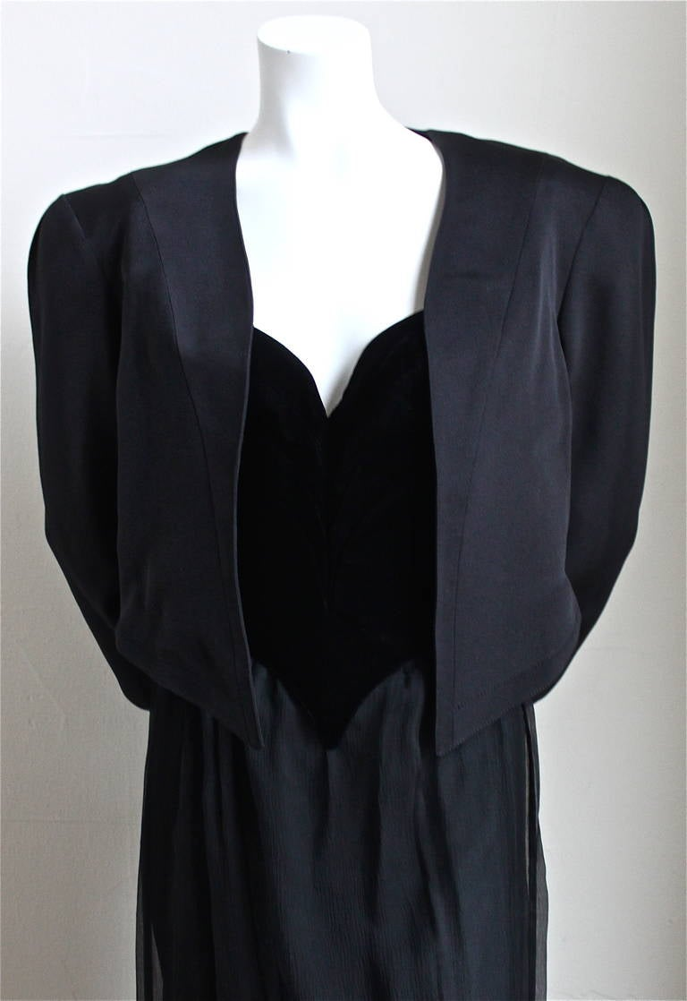 very rare 1988 THIERY MUGLER winged velvet bustier sheer silk skirt and jacket In Excellent Condition For Sale In Oakland, CA