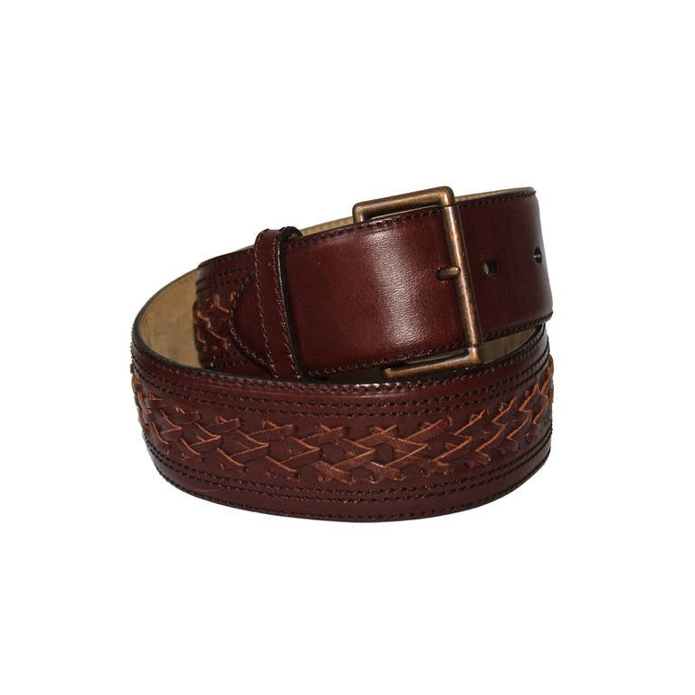 1980 s azzedine alaia brown leather woven belt with