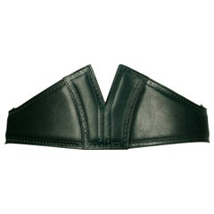 1992 Azzedine Alaia forest green leather corset belt with punched dot trim