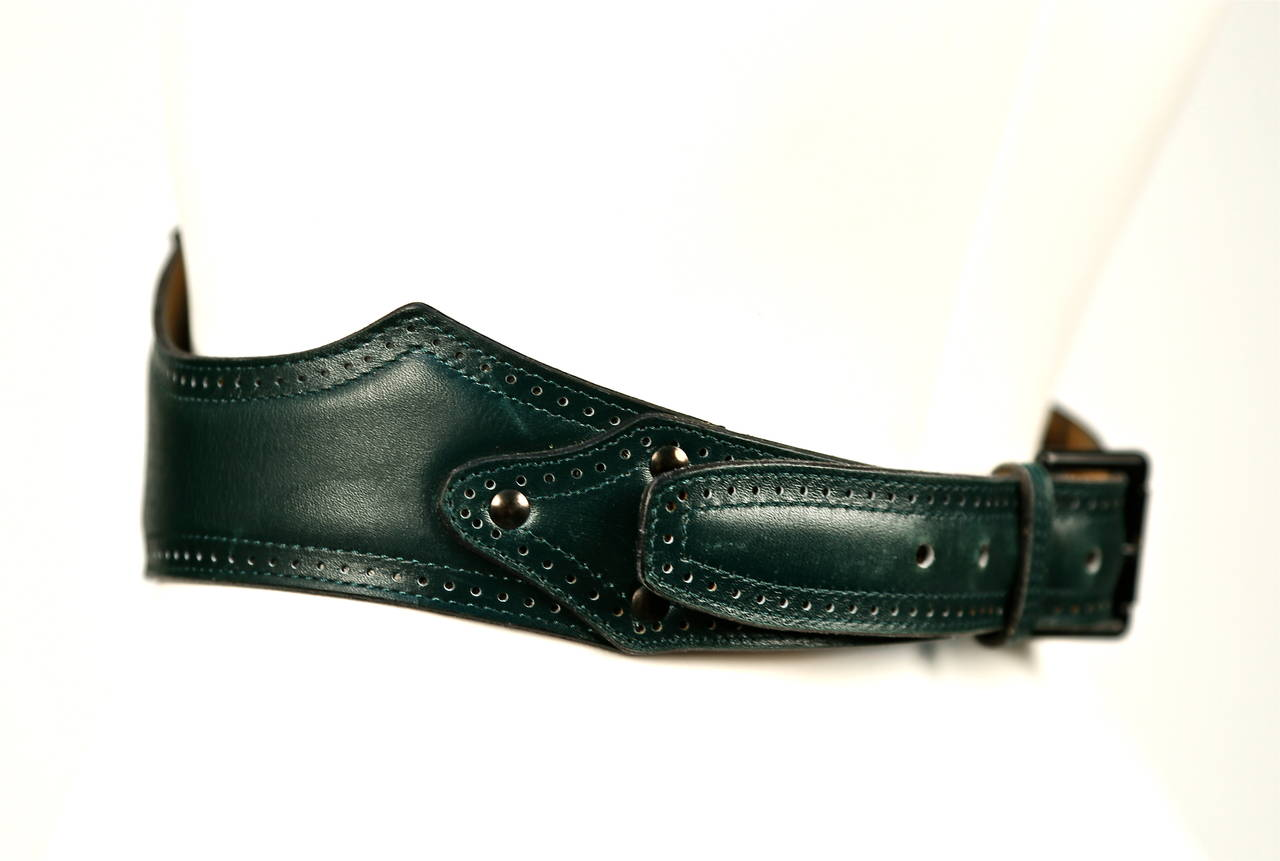 Black 1990's AZZEDINE ALAIA forest green leather corset belt with punched dot trim For Sale