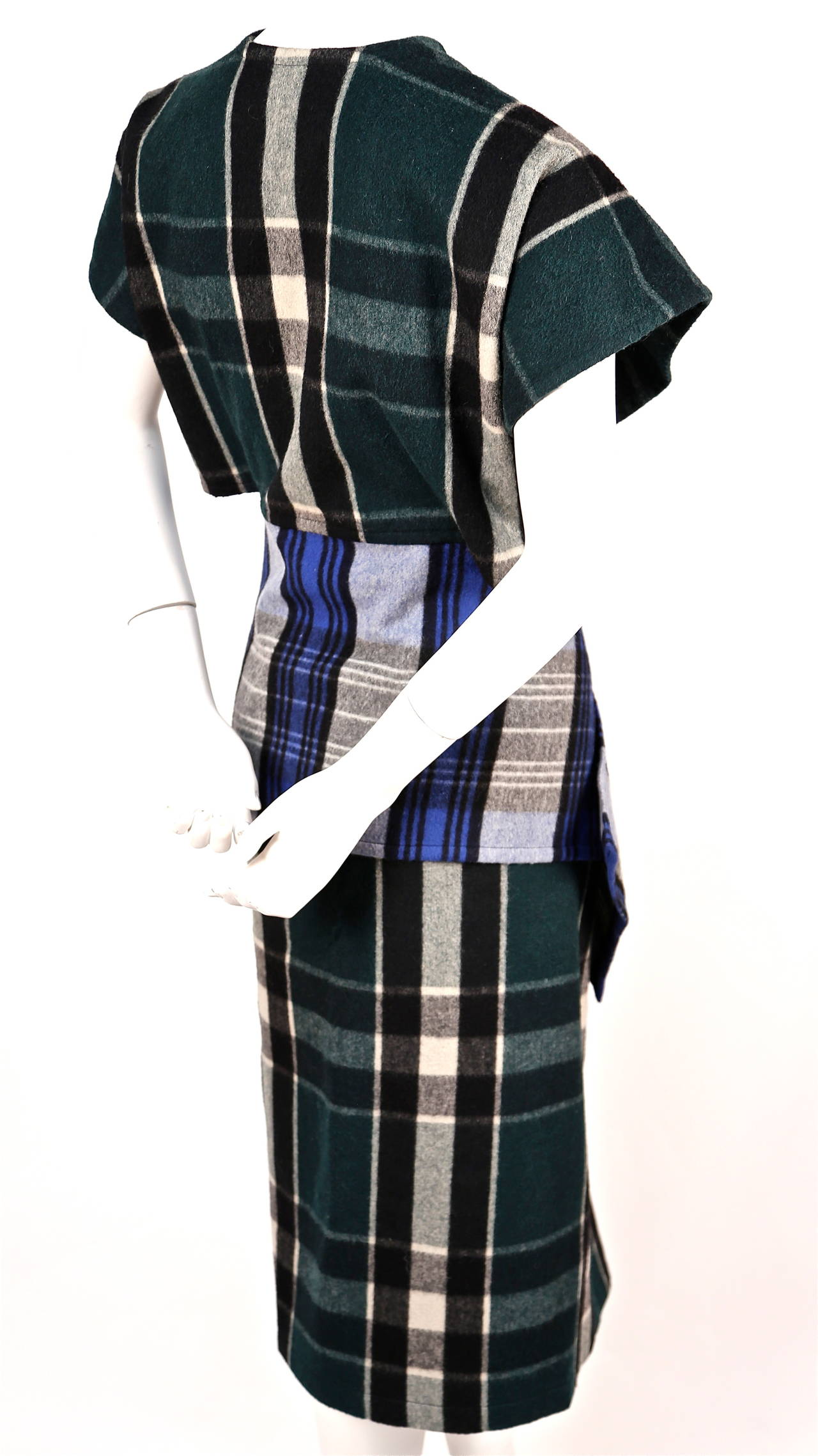 Black very rare early 1980's COMME DES GARCONS plaid wool ensemble For Sale