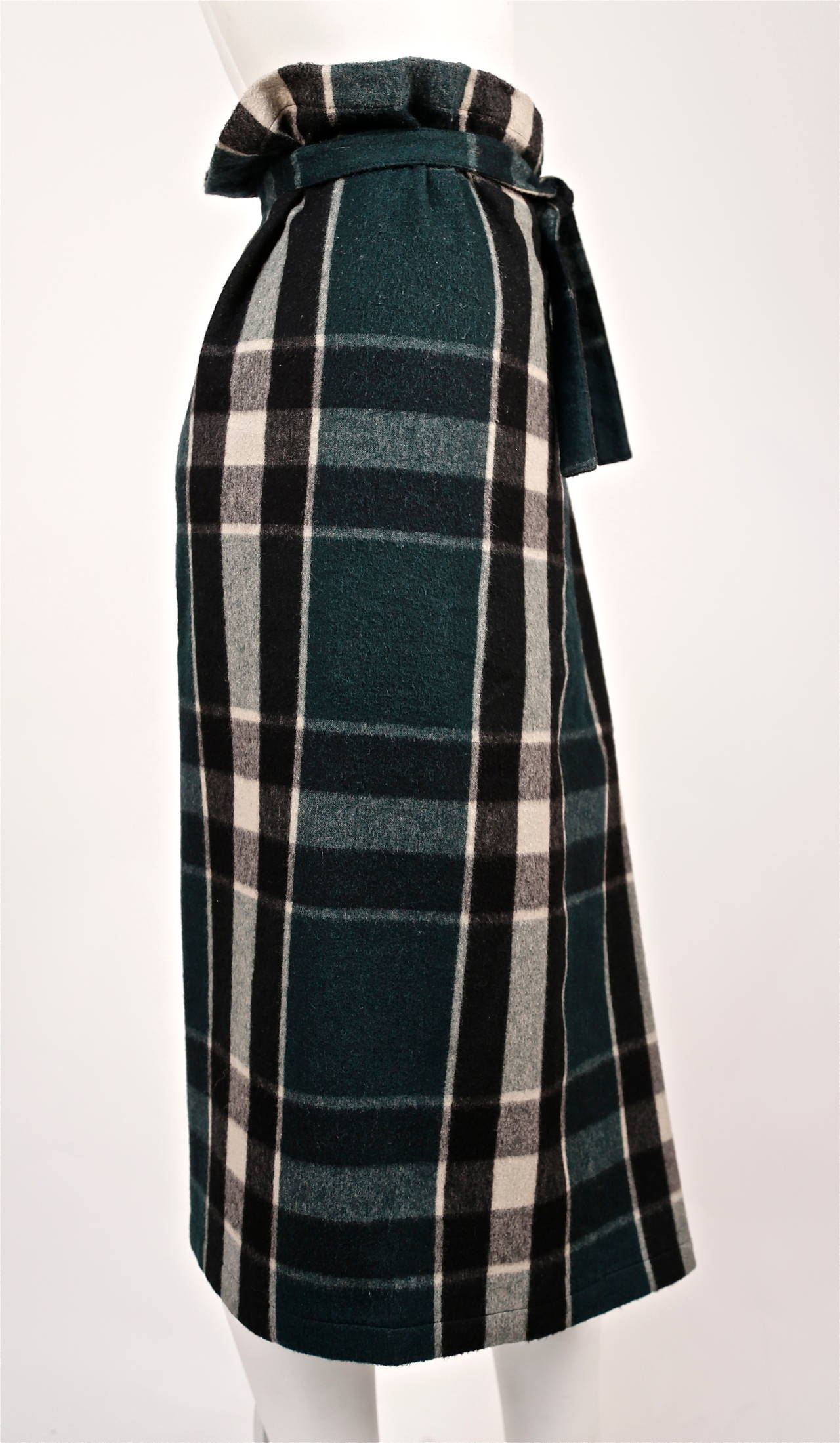 Women's very rare early 1980's COMME DES GARCONS plaid wool ensemble For Sale