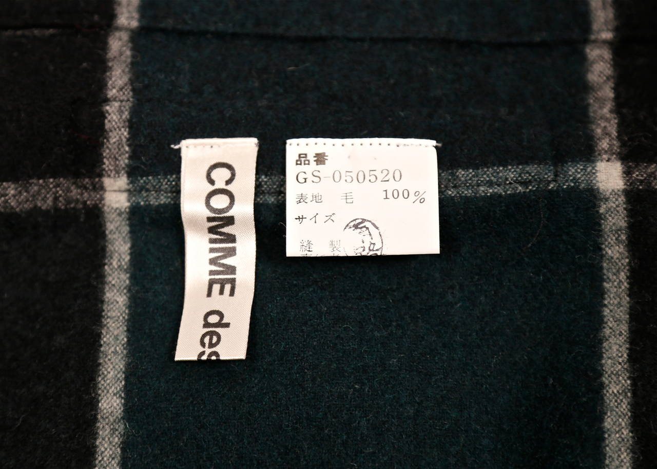 very rare early 1980's COMME DES GARCONS plaid wool ensemble For Sale 2