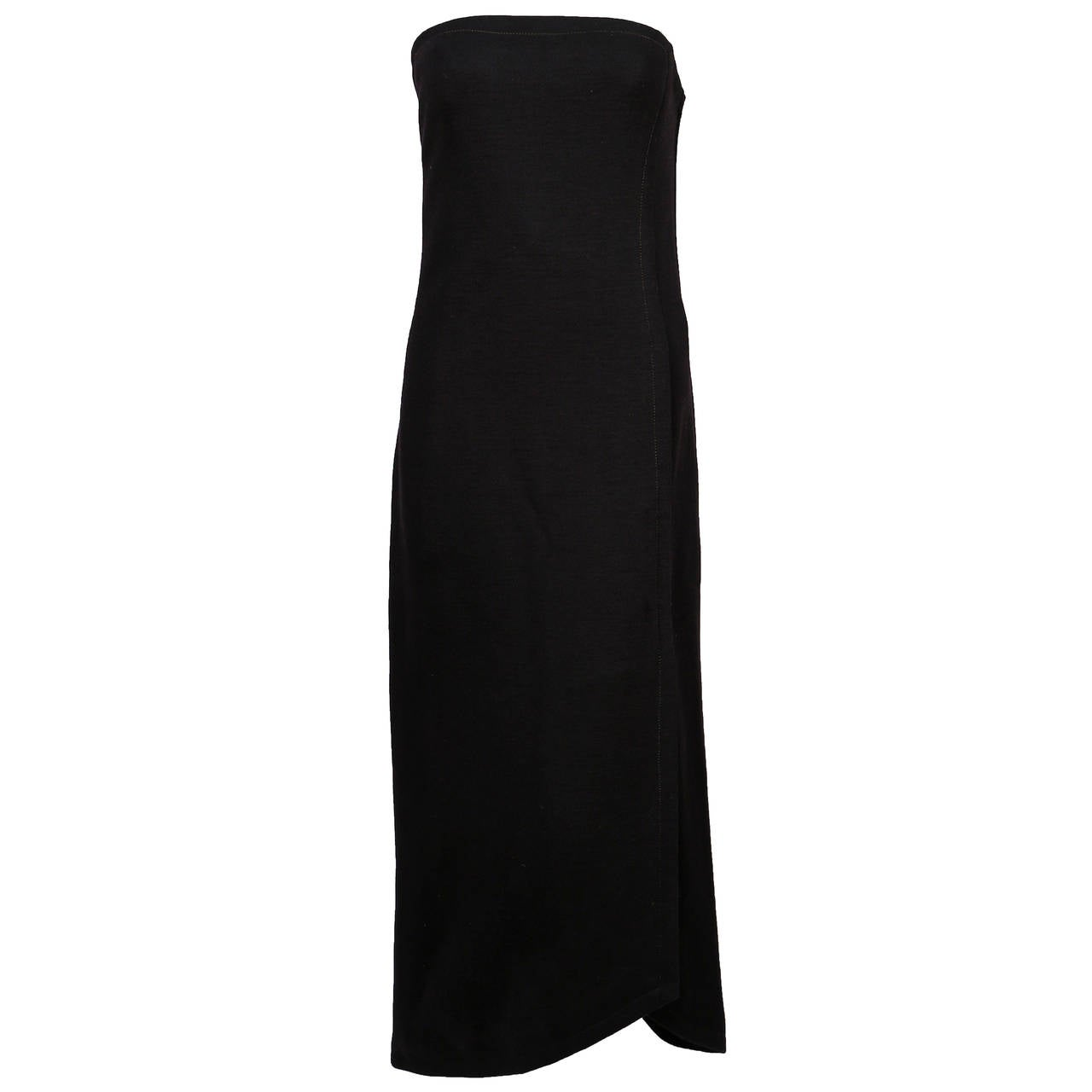 1960's GALANOS black wool strapless dress with asymmetrical seaming & hemline