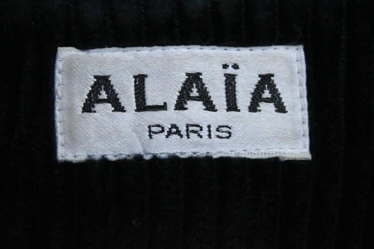 1980's AZZEDINE ALAIA midnight blue wide wale corduroy coat 3
