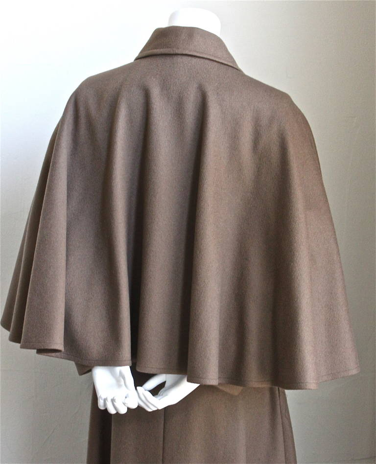 Brown very rare YVES SAINT LAURENT wool cape coat - 1970 For Sale