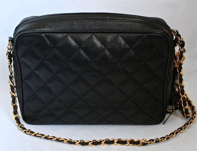 90's CHANEL black caviar quilted leather cross body bag with gilt ...