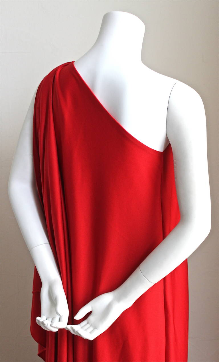1970's Halston IV draped red jersey Grecian gown In Excellent Condition For Sale In San Fransisco, CA