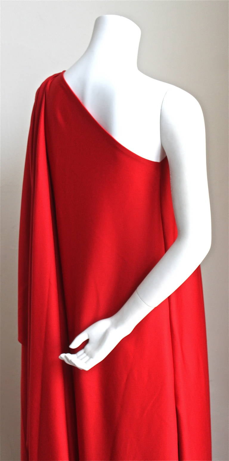 Red 1970's Halston IV draped red jersey Grecian gown For Sale