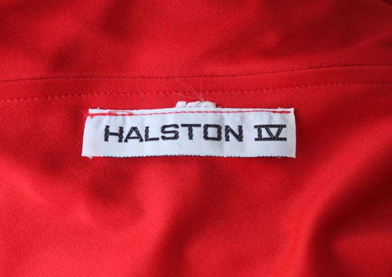 1970's Halston IV draped red jersey Grecian gown 5