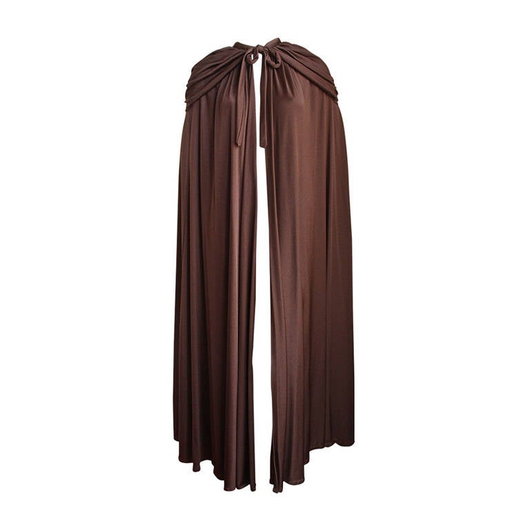 1970's LORIS AZZARO brown jersey cape with hood 1