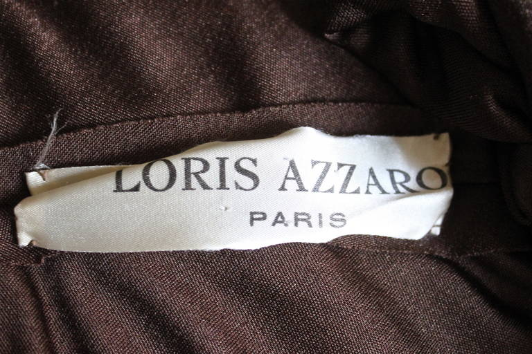 1970's LORIS AZZARO brown jersey cape with hood 3