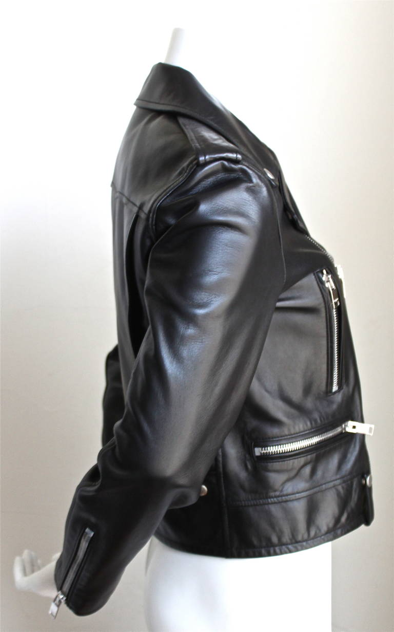 unworn SAINT LAURENT by Hedi Slimane black leather biker jacket In New never worn Condition For Sale In San Francisco, CA