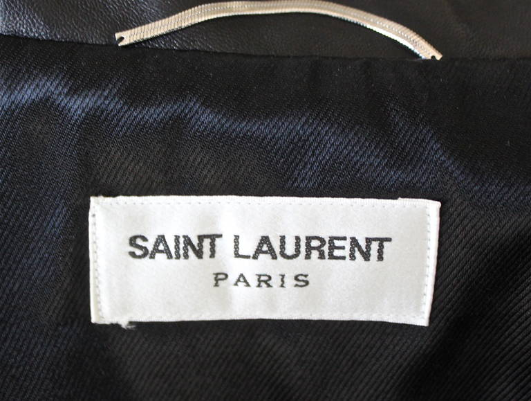 unworn SAINT LAURENT by Hedi Slimane black leather biker jacket 4