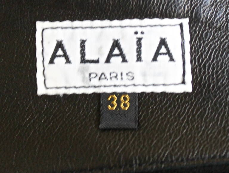 1980'S AZZEDINE ALAIA ultra mini leather skirt with buckles 4