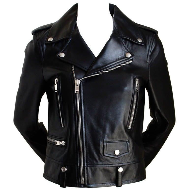 unworn SAINT LAURENT by Hedi Slimane black leather biker jacket 1