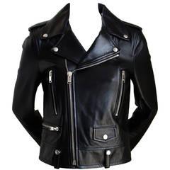 unworn SAINT LAURENT by Hedi Slimane black leather biker jacket