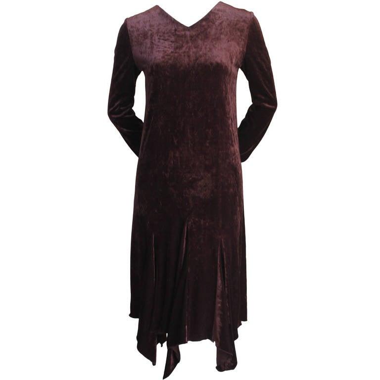 1990's ROMEO GIGLI brown velvet dress with asymmetrical hemline