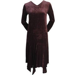 1990's ROMEO GIGLI brown velvet dress with asymmetrical hemline