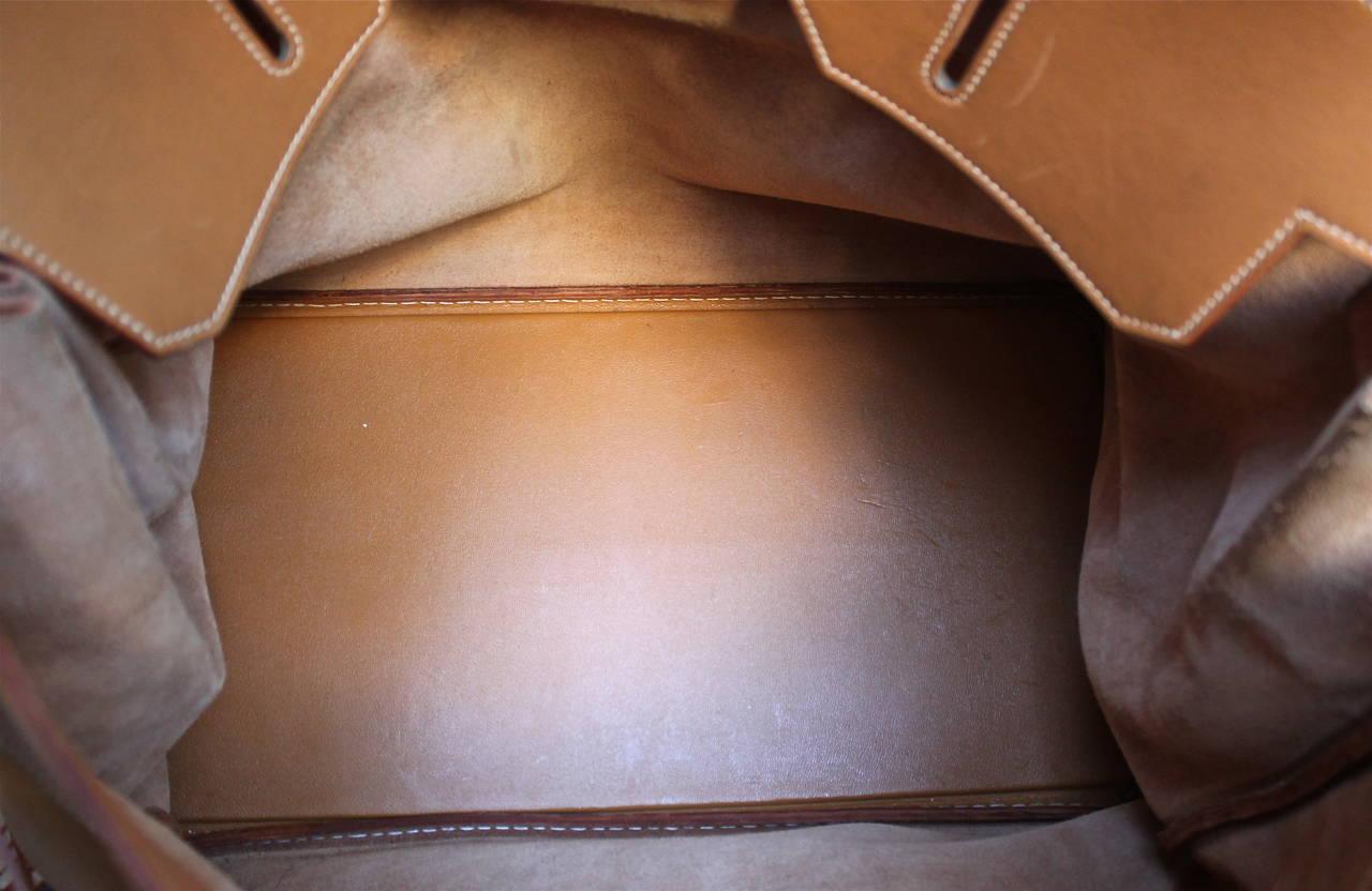 1983 HERMES Haut ¨¤ Courroies 50 cm cache natural leather Birkin ...