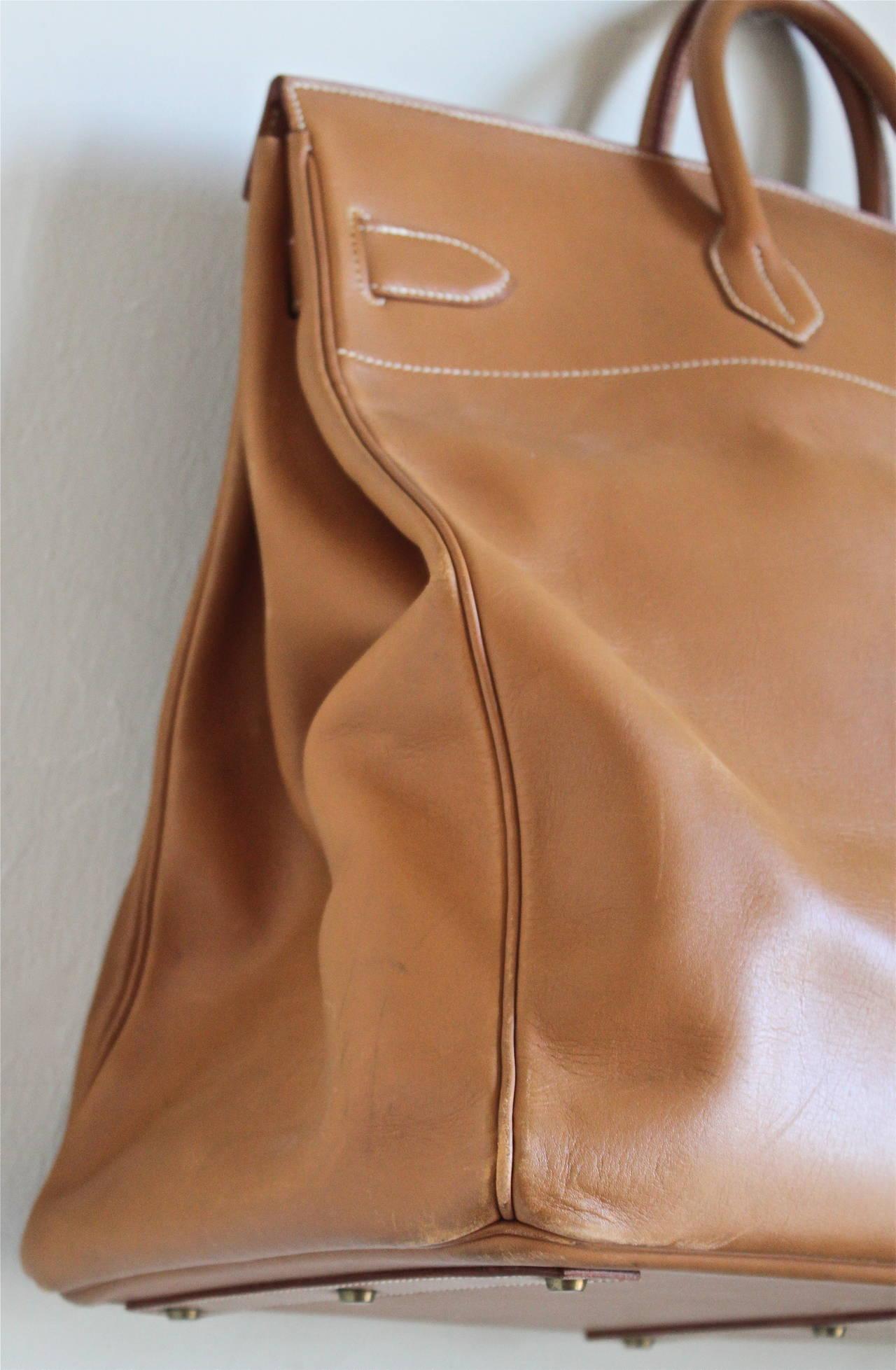 1983 HERMES Haut �� Courroies 50 cm cache natural leather Birkin ...