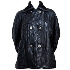 1990's GIANNI VERSACE black leather coat with shearling trip & Medusa buttons