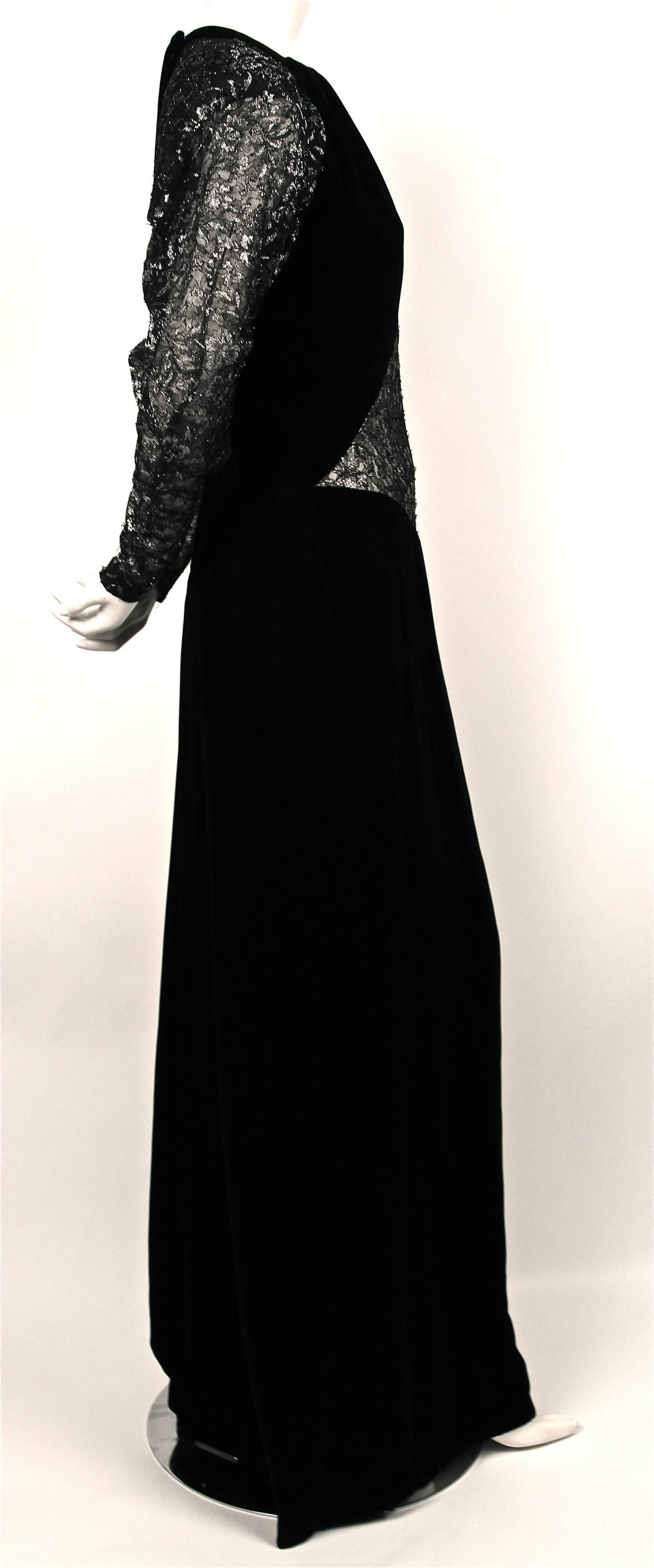 Jacqueline De Ribes black velvet gown with sheer lace panels For ...