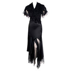 rare ALEXANDER MCQUEEN black dress with spiral zipper & tulle ruffles - 2001