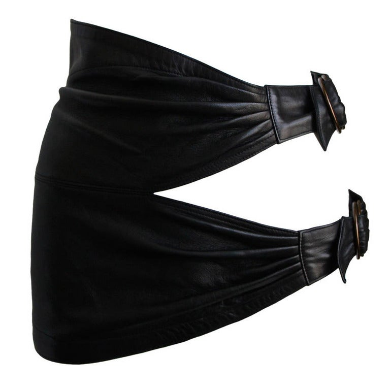 1980'S AZZEDINE ALAIA ultra mini leather skirt with buckles 1