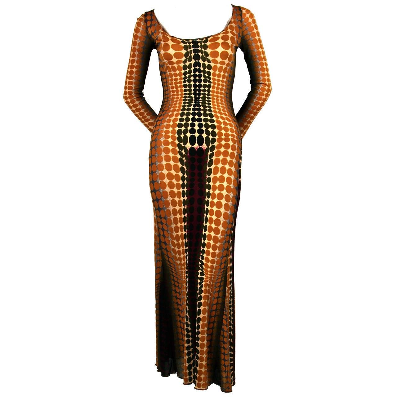 rare JEAN PAUL GAULTIER Op-art cyber print dress - 1995 1