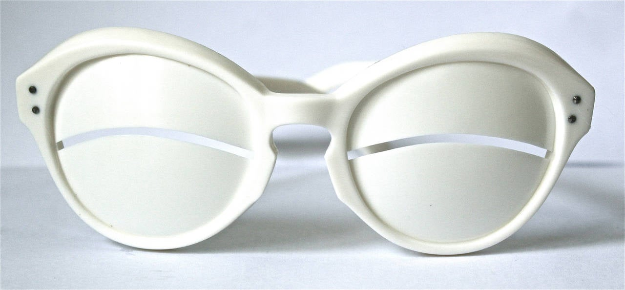 "unworn 1965 VERY RARE Iconic André Courrèges Lunette ""Eskimo Eclipse"" Sunglasses 2"