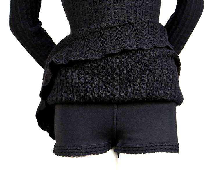Azzedine Alaia jet black crocheted knit dress, 1990s   In New Never_worn Condition For Sale In San Fransisco, CA