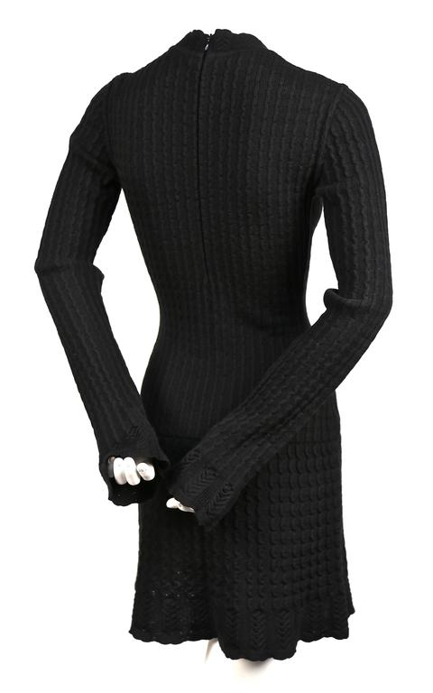Black Azzedine Alaia jet black crocheted knit dress, 1990s   For Sale