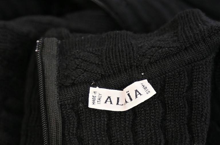 Women's Azzedine Alaia jet black crocheted knit dress, 1990s   For Sale