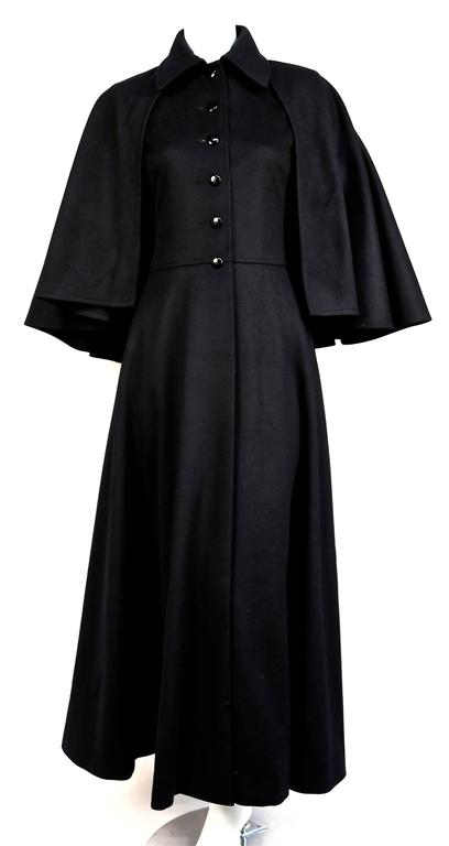 very rare YVES SAINT LAURENT black wool cape coat - 1970 2