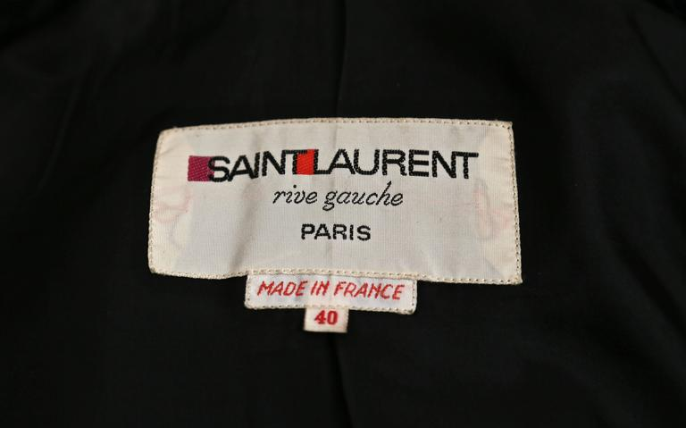 very rare YVES SAINT LAURENT black wool cape coat - 1970 4