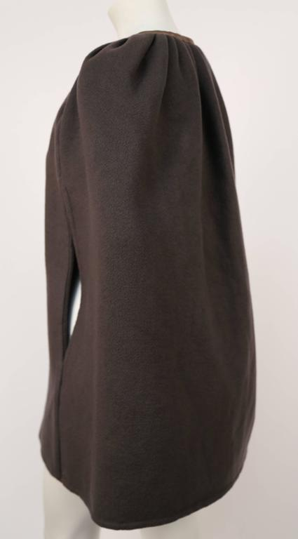 RICK OWENS taupe cashmere cape with leather trim  3