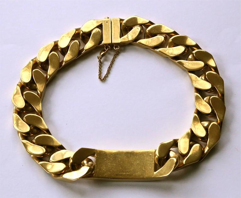 very rare CELINE by Phoebe Philo chunky gold link ID choker necklace In Good Condition For Sale In San Fransisco, CA