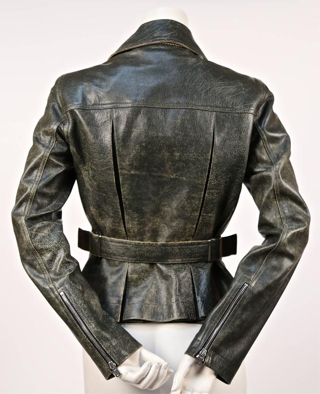 AZZEDINE ALAIA distressed leather motorcycle jacket 3