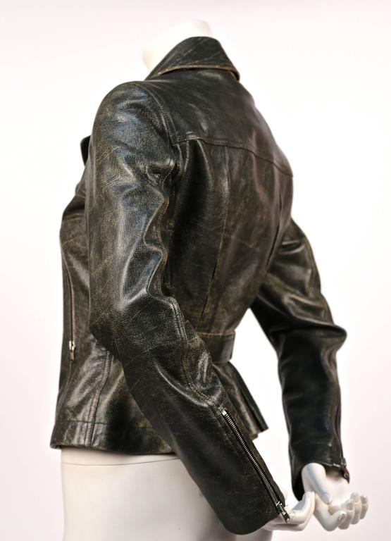 AZZEDINE ALAIA distressed leather motorcycle jacket 2