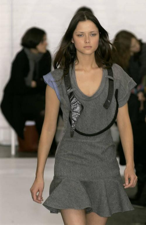 2002 BALENCIAGA by Nicolas Ghesquiere wool and leather patchwork dress For Sale 2
