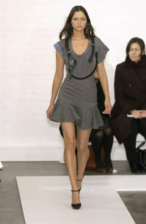 2002 BALENCIAGA by Nicolas Ghesquiere wool and leather patchwork dress For Sale 1