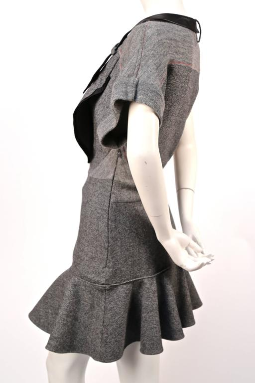 Gray 2002 BALENCIAGA by Nicolas Ghesquiere wool and leather patchwork dress For Sale