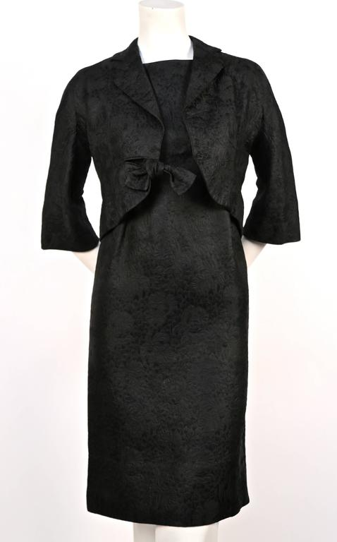 1960's CRISTOBAL BALENCIAGA haute couture black brocade dress and jacket 6