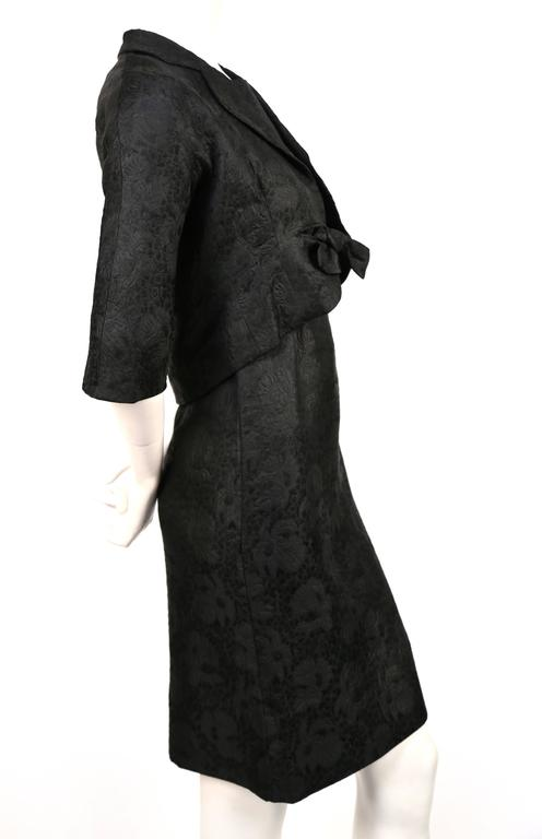 1960's CRISTOBAL BALENCIAGA haute couture black brocade dress and jacket 7