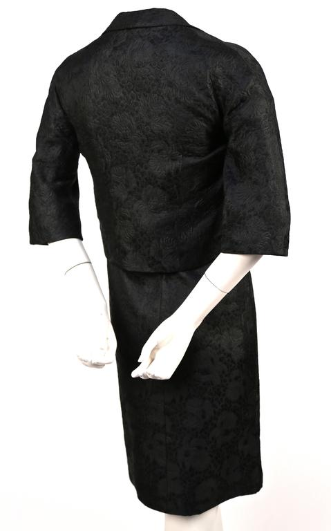 1960's CRISTOBAL BALENCIAGA haute couture black brocade dress and jacket 9