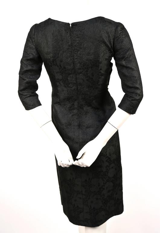 1960's CRISTOBAL BALENCIAGA haute couture black brocade dress and jacket 3
