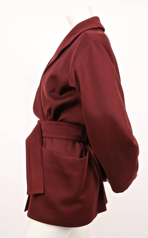 1980's AZZEDINE ALAIA burgundy gabardine coat with wrap around pockets 2
